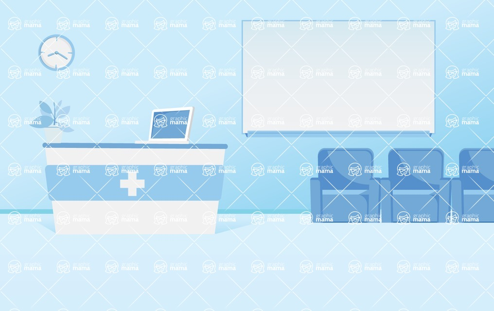 Room Backgrounds Vector Collection - Minimalistic Hospital Reception Interior Vector Background