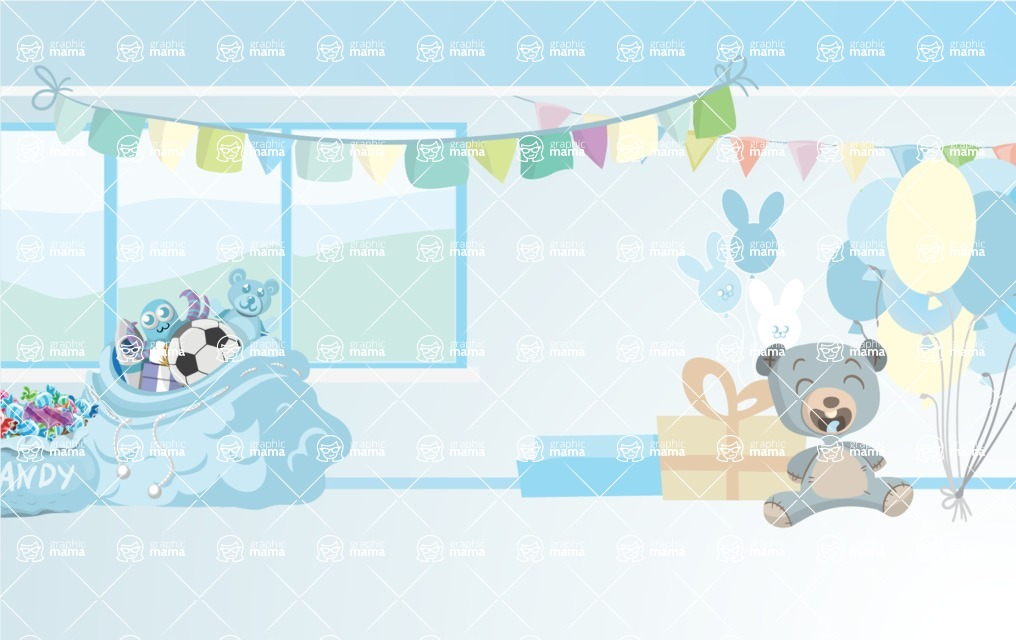 Room Backgrounds Vector Collection - Indoor Birthday Party Interior Background