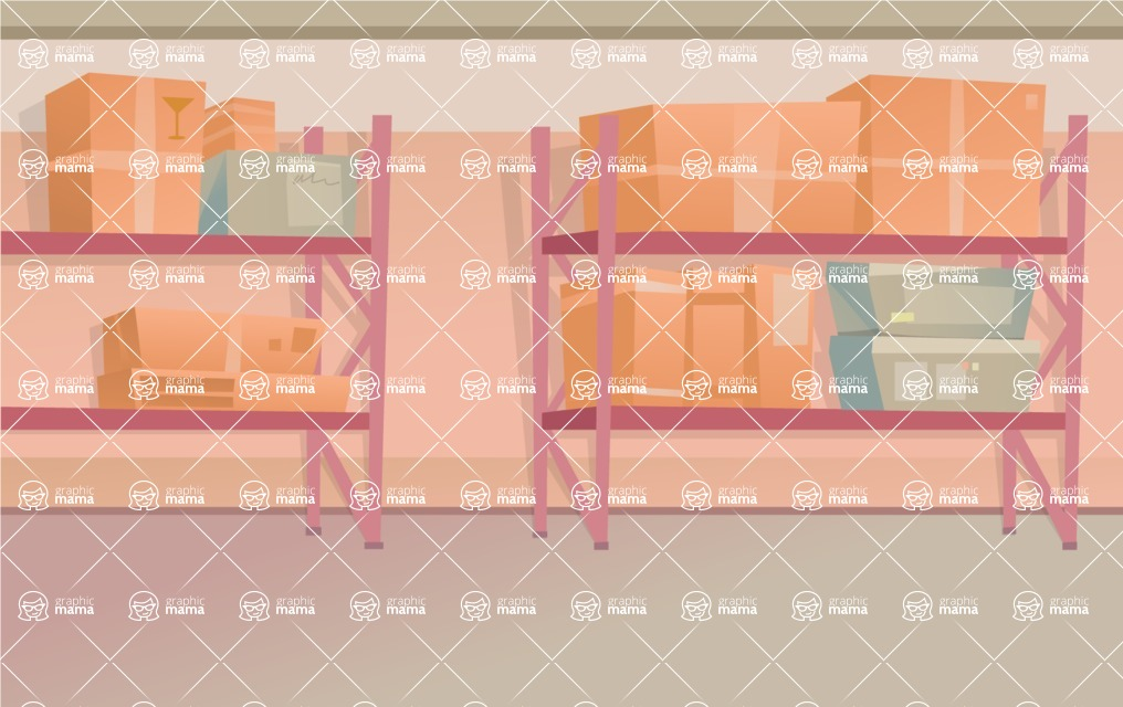 Room Backgrounds Vector Collection - Warehouse or Storage Room Vector Background