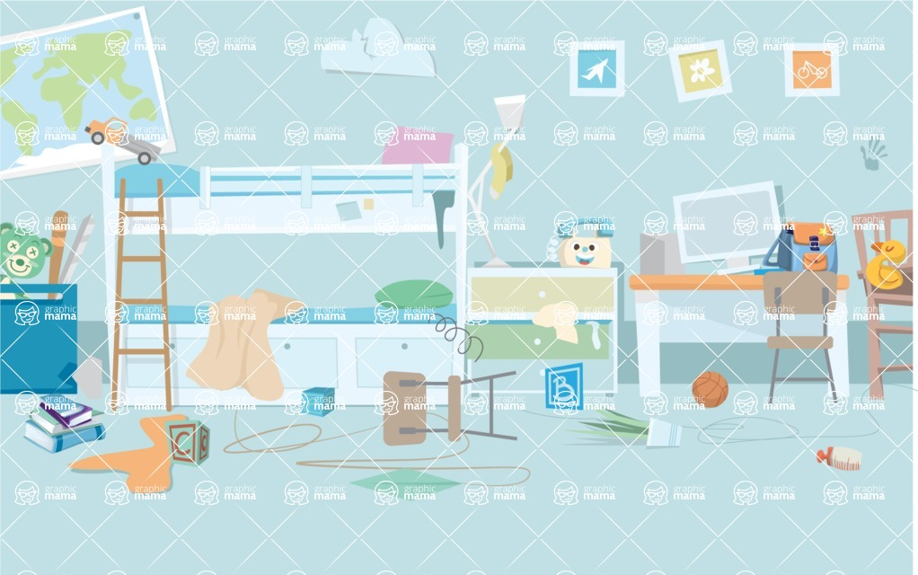 Room Backgrounds Vector Collection - Dirty Child Room Vector Background