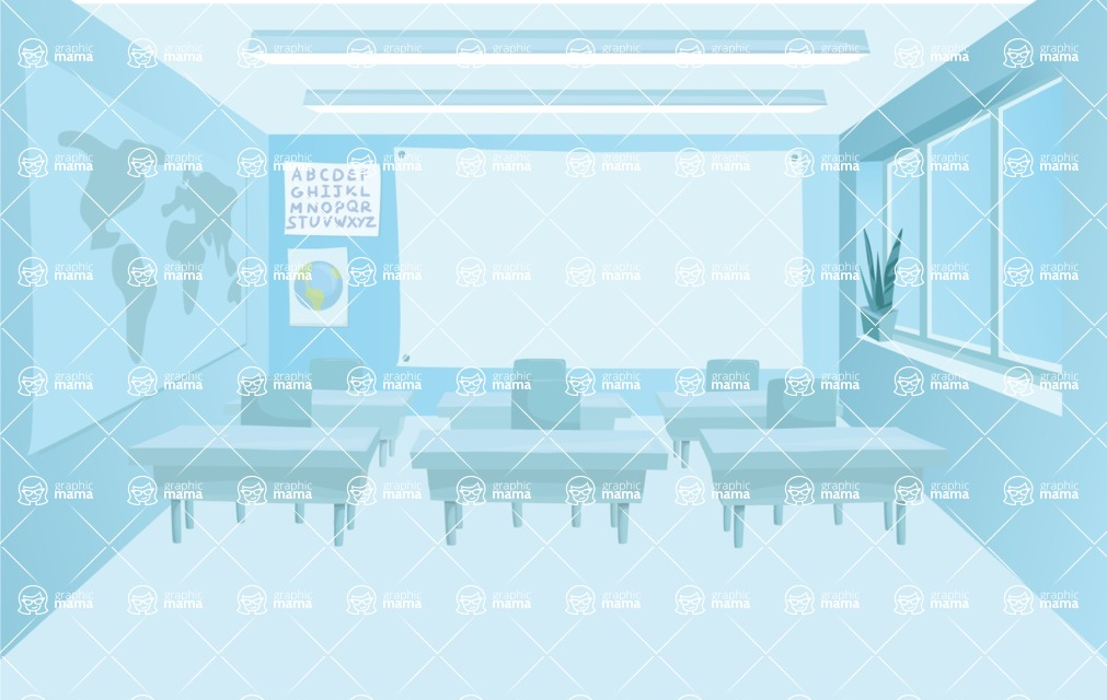Room Backgrounds Vector Collection - Vector Monochrome Classroom Background