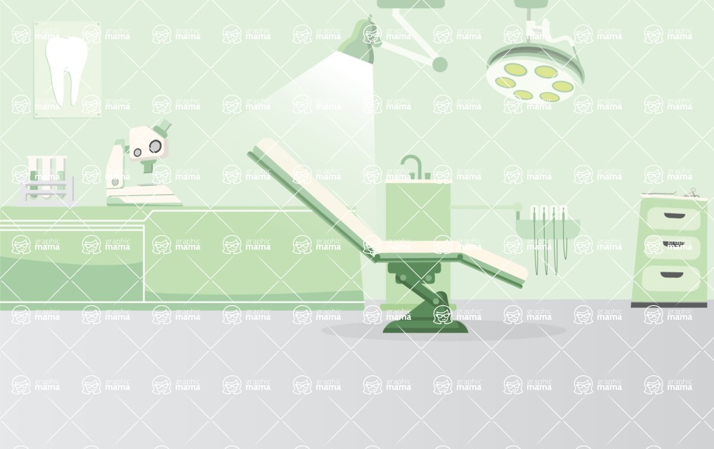 Room Backgrounds Vector Collection - Dentist Room Interior Vector Background