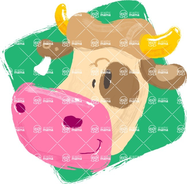 Watercolor Avatars Vector Mega Bundle - Cow Watercolor Avatar