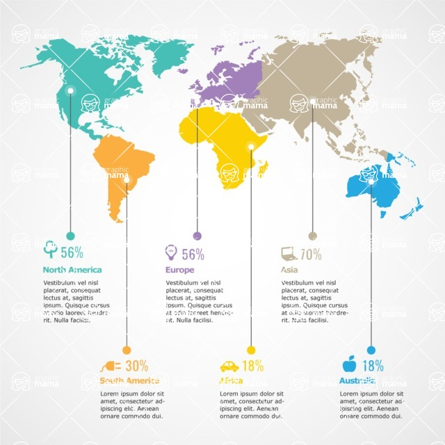 Infographic Templates Collection - Vector, Photoshop, PowerPoint, Google Slides - Continent Comparison Infographic Template