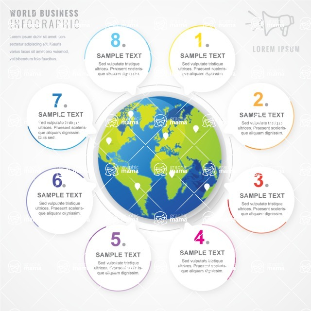Infographic Templates Collection - Vector, Photoshop, PowerPoint, Google Slides - Globe with Steps Infographic Template