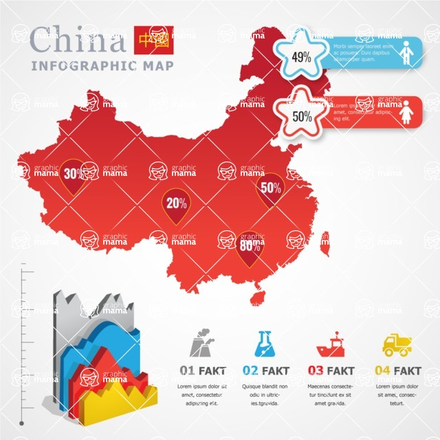 Infographic Templates Collection - Vector, Photoshop, PowerPoint, Google Slides - China Map Infographic Template