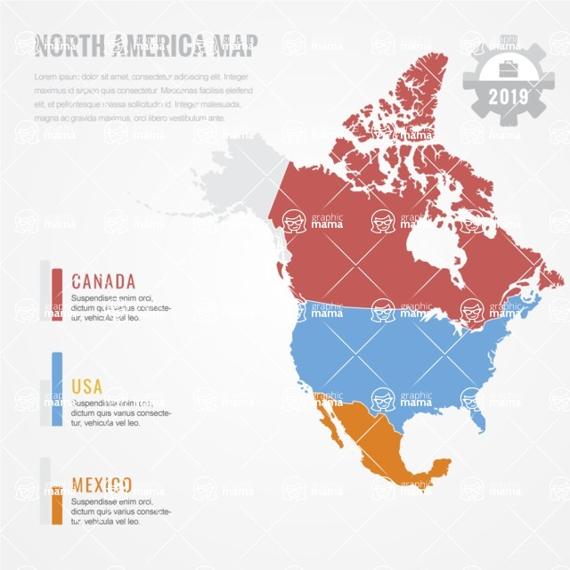 Infographic Templates Collection - Vector, Photoshop, PowerPoint, Google Slides - North America Map Infographic Template