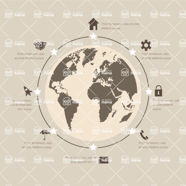 Infographic Templates Collection - Vector, Photoshop, PowerPoint, Google Slides - Simple Global World Infographic Template with Data