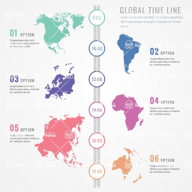 Infographic Template Collection - Timeline Infographic Template with International Country Maps