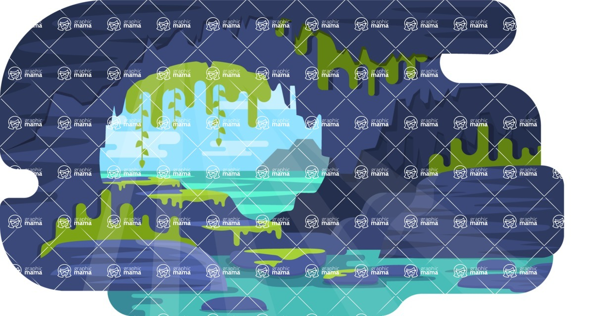 Vector Backgrounds - Mega Bundle - Beautiful Colorful Cave Vector Background