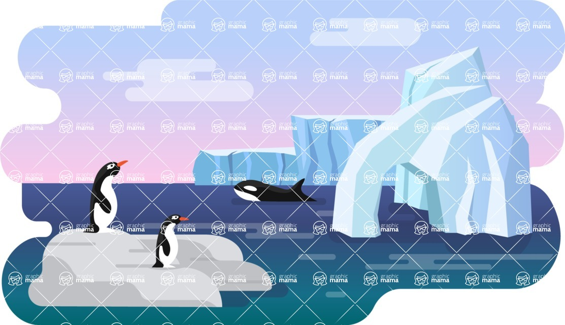 Vector Backgrounds - Mega Bundle - Colorful Antarctica Vector Background with Penguins