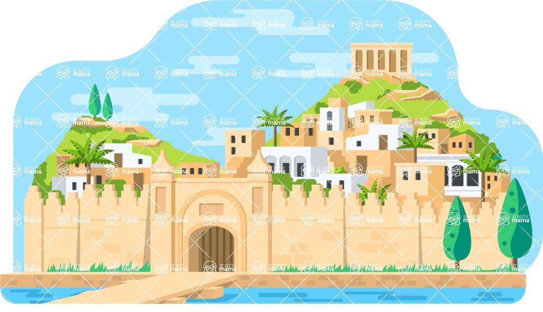 Vector Backgrounds - Mega Bundle - Colorful Ancient City Landscape Vector Background