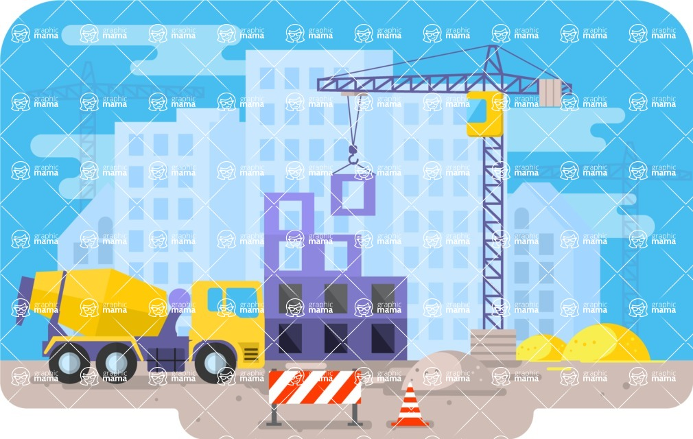 Vector Backgrounds - Mega Bundle - Colorful Building Construction Vector Background