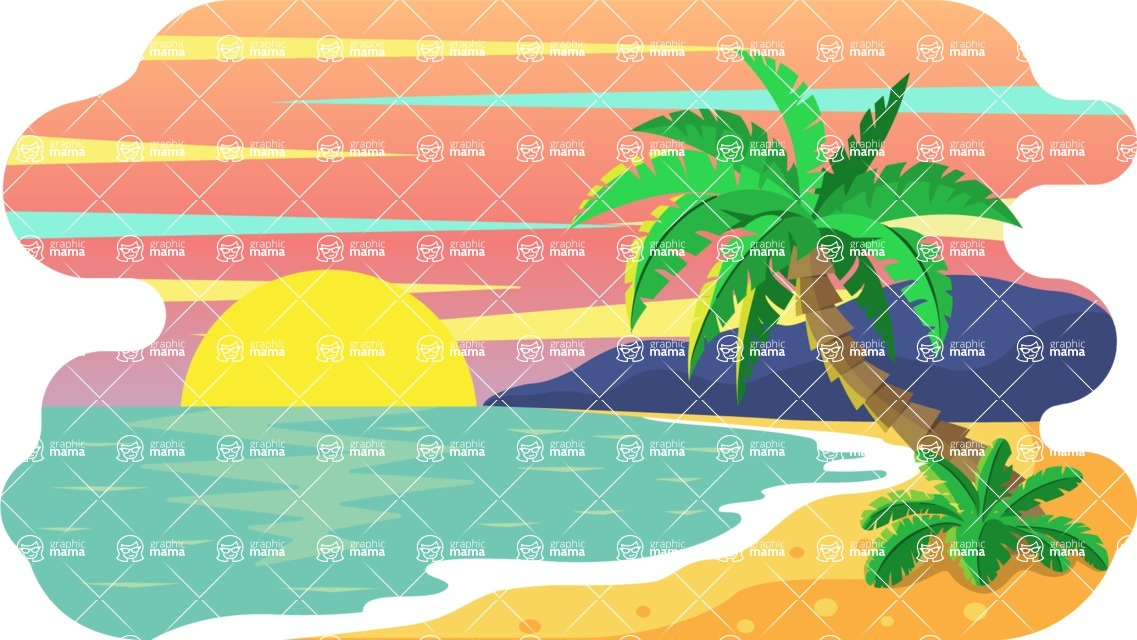 Vector Backgrounds - Mega Bundle - Colorful Beach on Sunset Vector Background