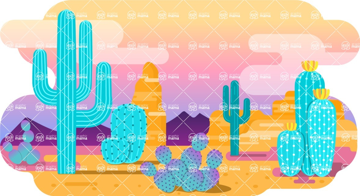 Vector Backgrounds - Mega Bundle - Colorful Desert Vector Background