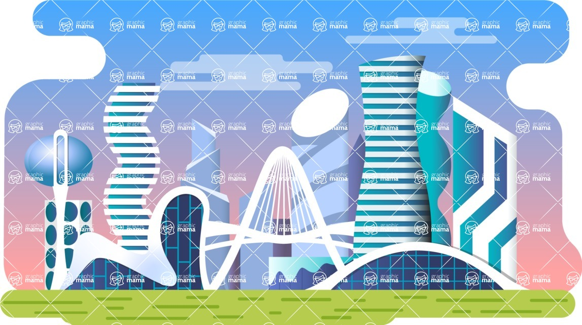 Vector Backgrounds - Mega Bundle - Colorful City with Modern Buildings Vector Background