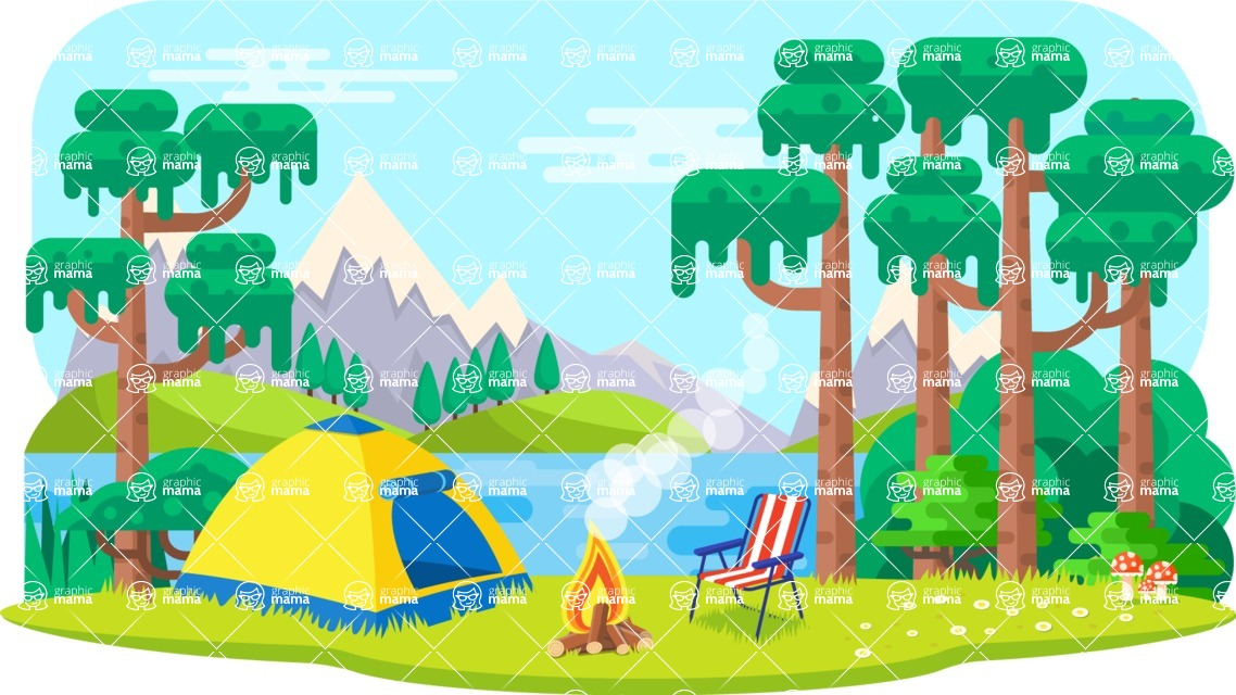 Vector Backgrounds - Mega Bundle - Colorful Vacation in the Nature Vector Background Illustration