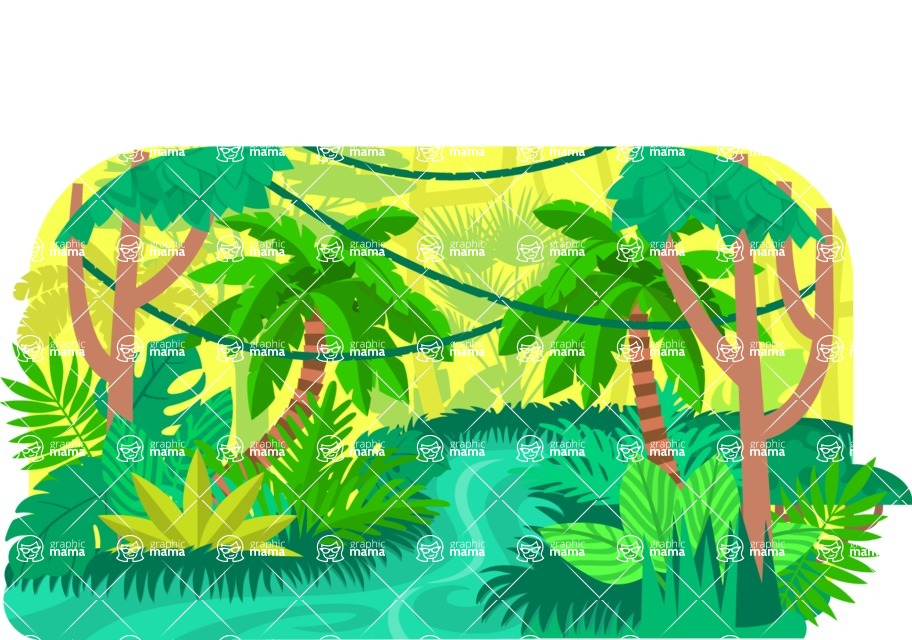 Vector Backgrounds - Mega Bundle - Colorful Jungle Vector Background Illustration