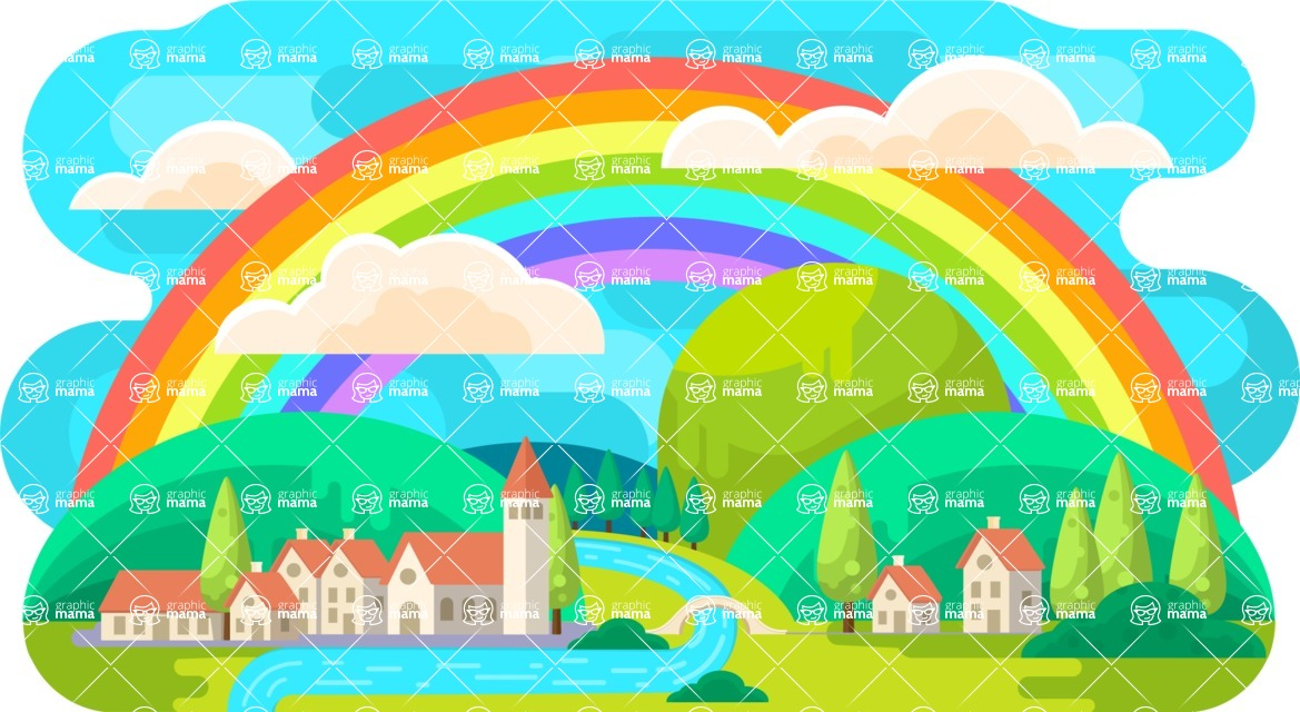 Vector Backgrounds - Mega Bundle - Rainbow Vector Background Illustration