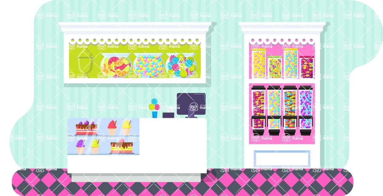Vector Backgrounds - Mega Bundle - Colorful Candy Shop Vector Background Illustration