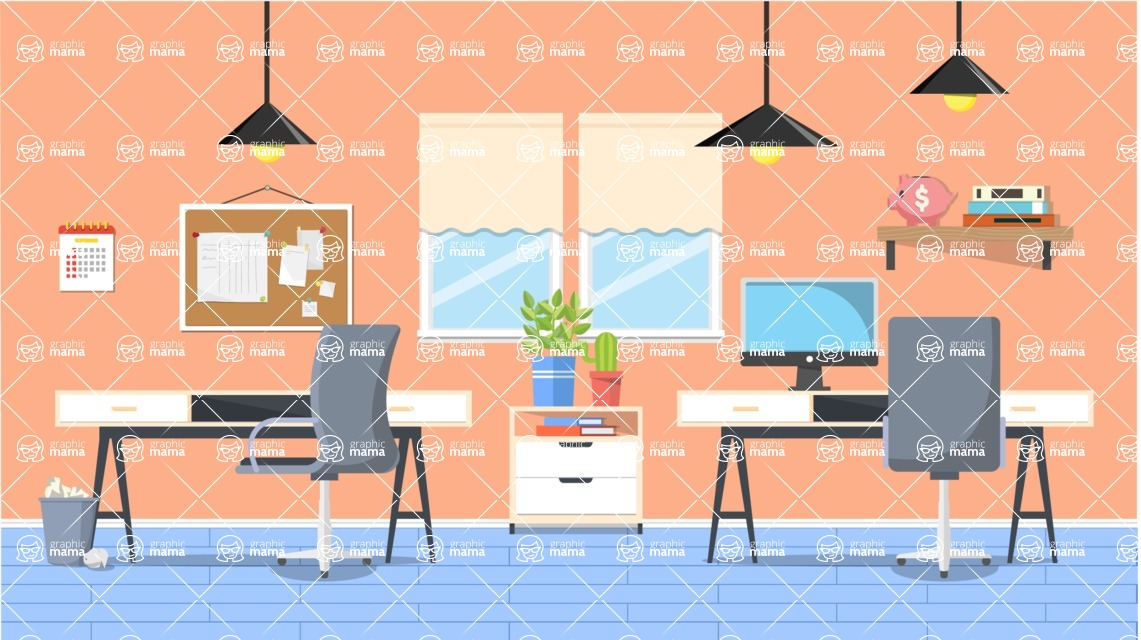 Vector Backgrounds - Mega Bundle - Desks in Office Vector Background Illustration