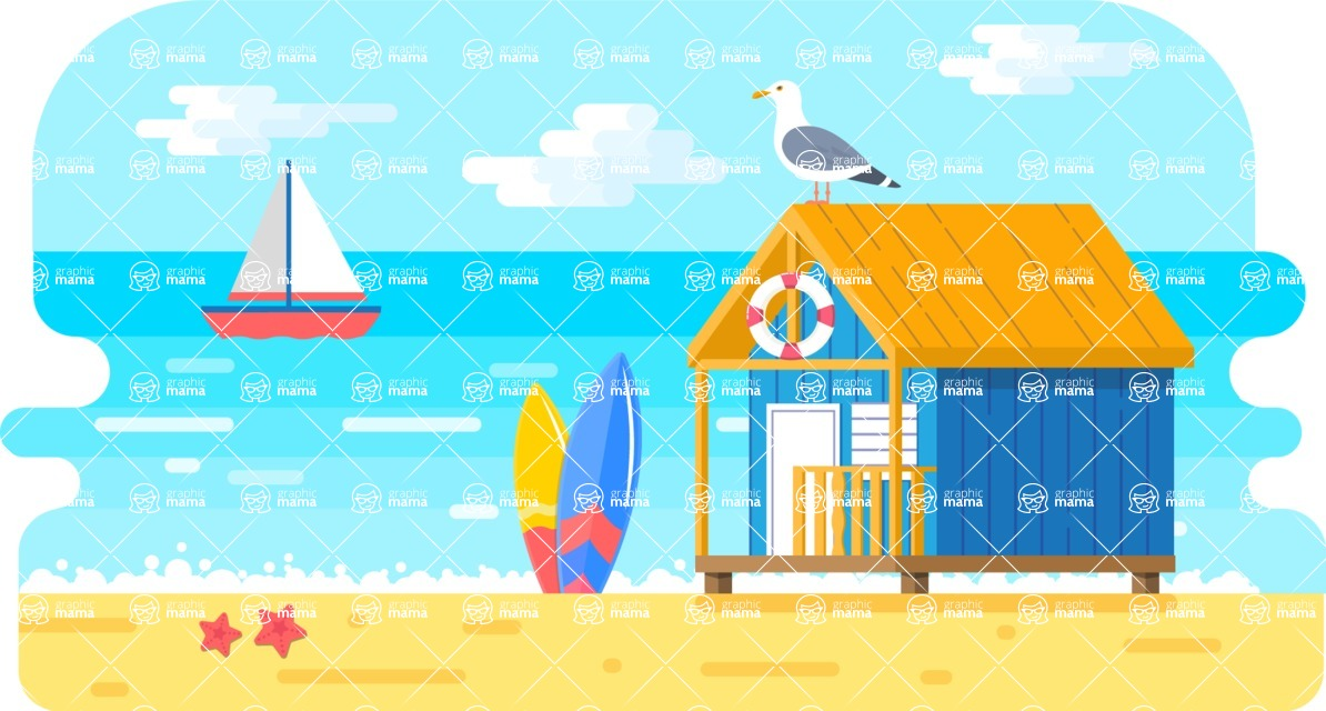 Vector Backgrounds - Mega Bundle - Colorful Beach and Ocean Landscape Vector Background