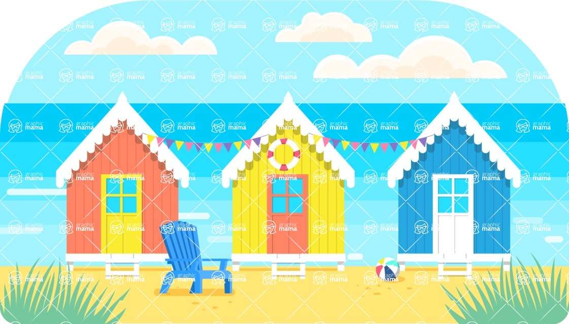Vector Backgrounds - Mega Bundle - Villas on the Beach Travel Landscape Vector Background