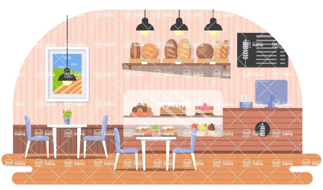 Vector Backgrounds - Mega Bundle - Flat Bakery Illustration Vector Background