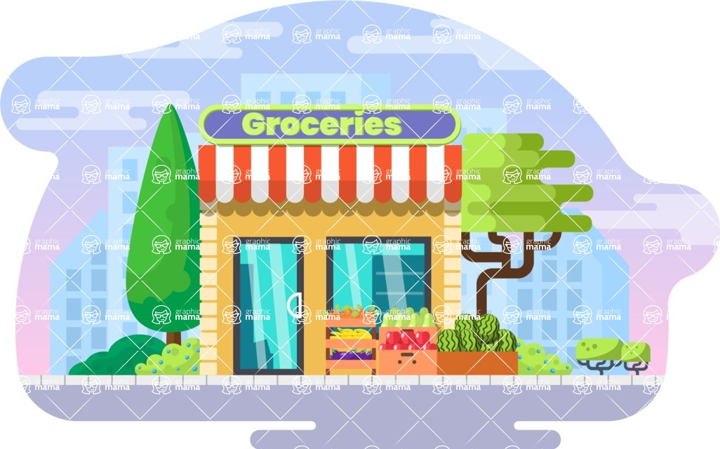 Vector Backgrounds - Mega Bundle - Flat Groceries Shop Illustration Vector Background