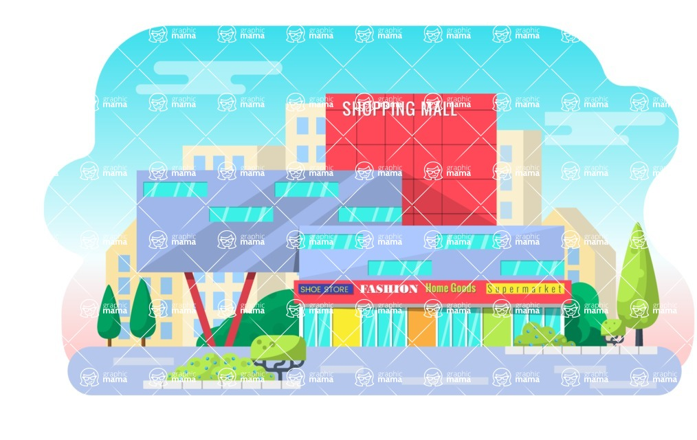 Vector Backgrounds - Mega Bundle - Flat Shopping Mall Building Landscape Illustration