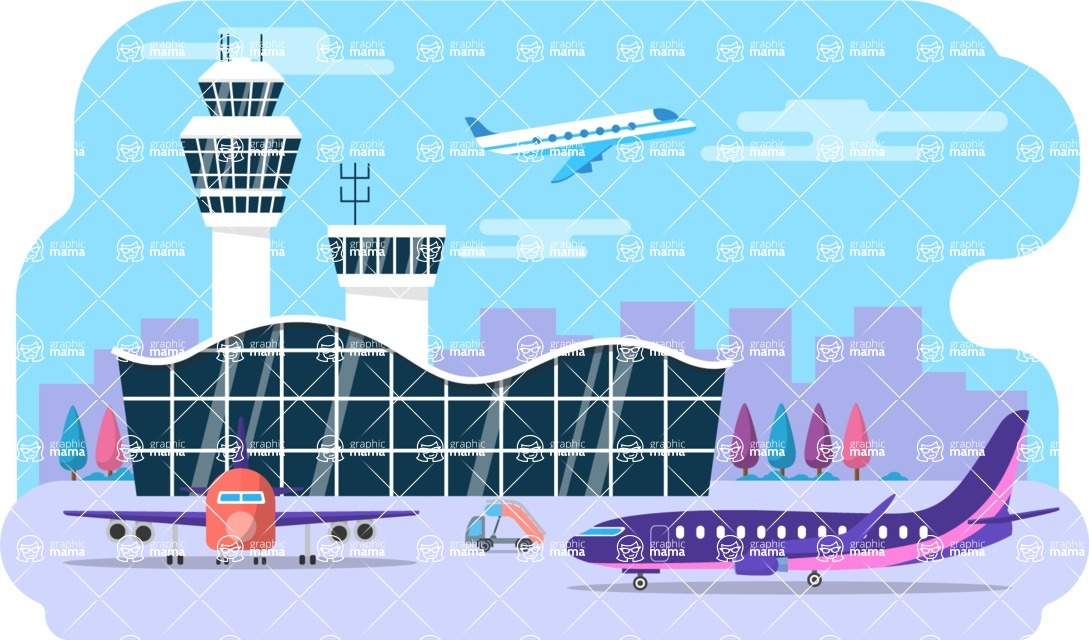 Vector Backgrounds - Mega Bundle - Colorful Airport Building Vector Background Illustration