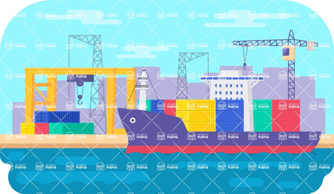 Vector Backgrounds - Mega Bundle - Flat Shipping Port Vector Background Illustration