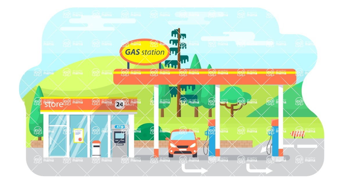 Vector Backgrounds - Mega Bundle - Flat Gas Station Vector Background Illustration