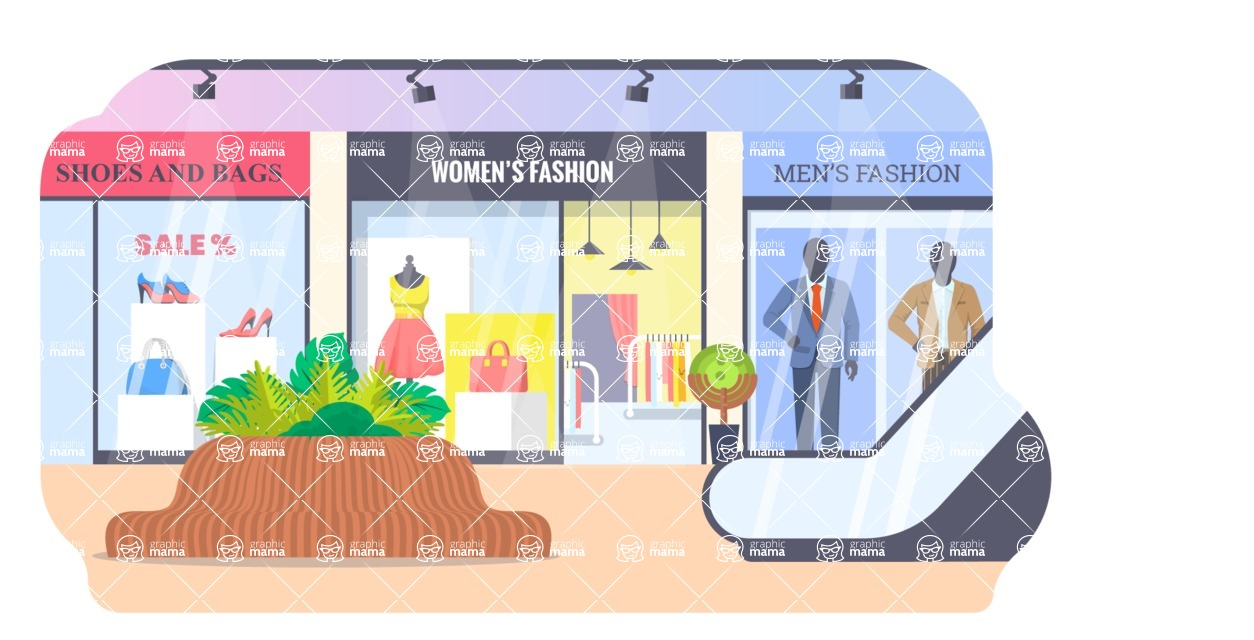 Vector Backgrounds - Mega Bundle - Shopping Center Interior with Shops Vector Background Illustration