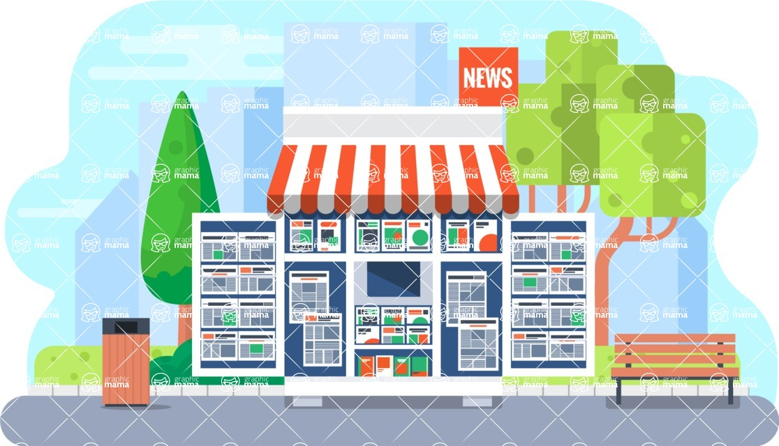 Vector Backgrounds - Mega Bundle - News Stand Vector Background Illustration