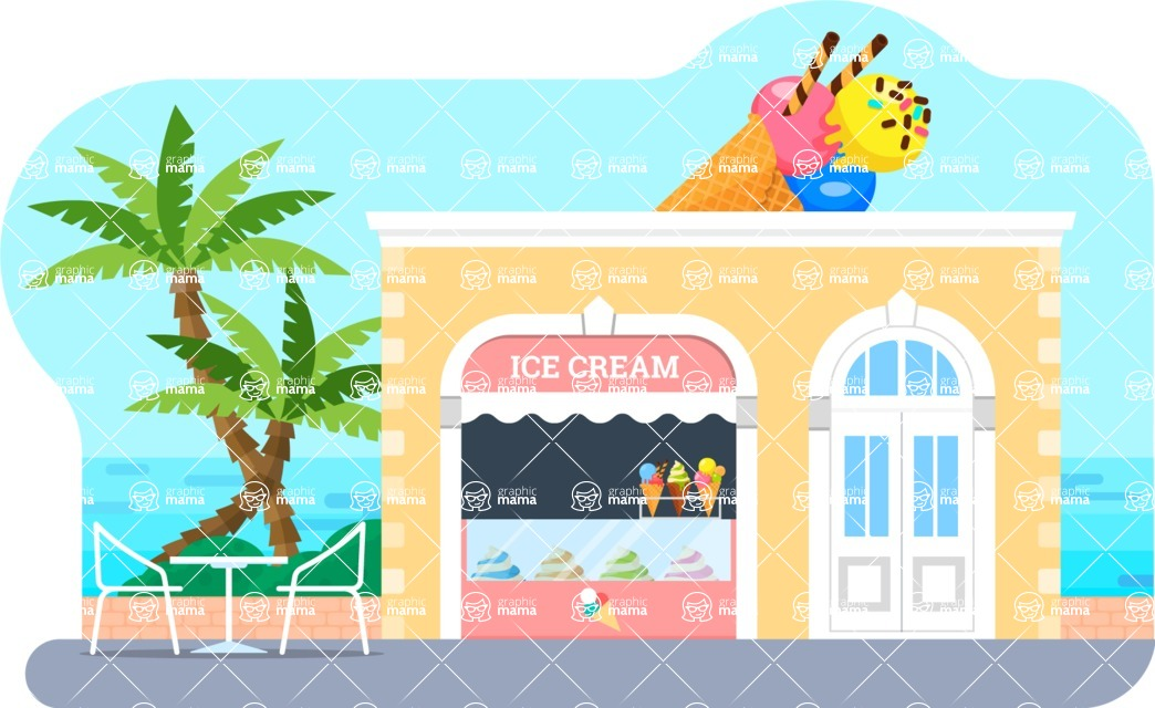 Vector Backgrounds - Mega Bundle - Ice Cream Shop Vector Background Illustration