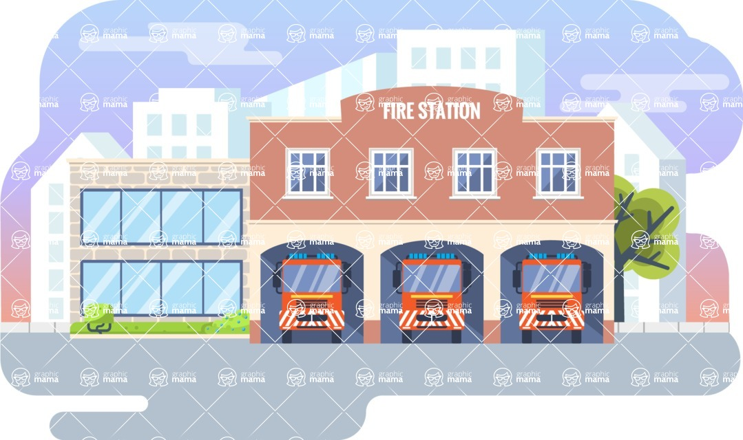 Vector Backgrounds - Mega Bundle - Fire Station Vector Background Illustration