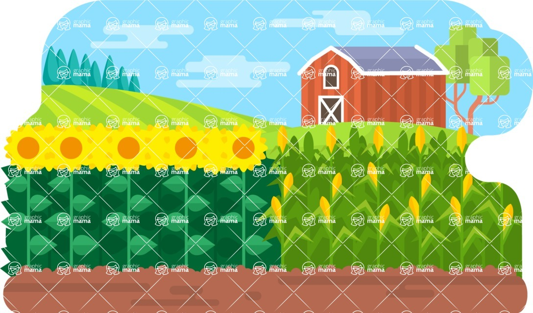 Vector Backgrounds - Mega Bundle - Farm and Fields Vector Background Illustration