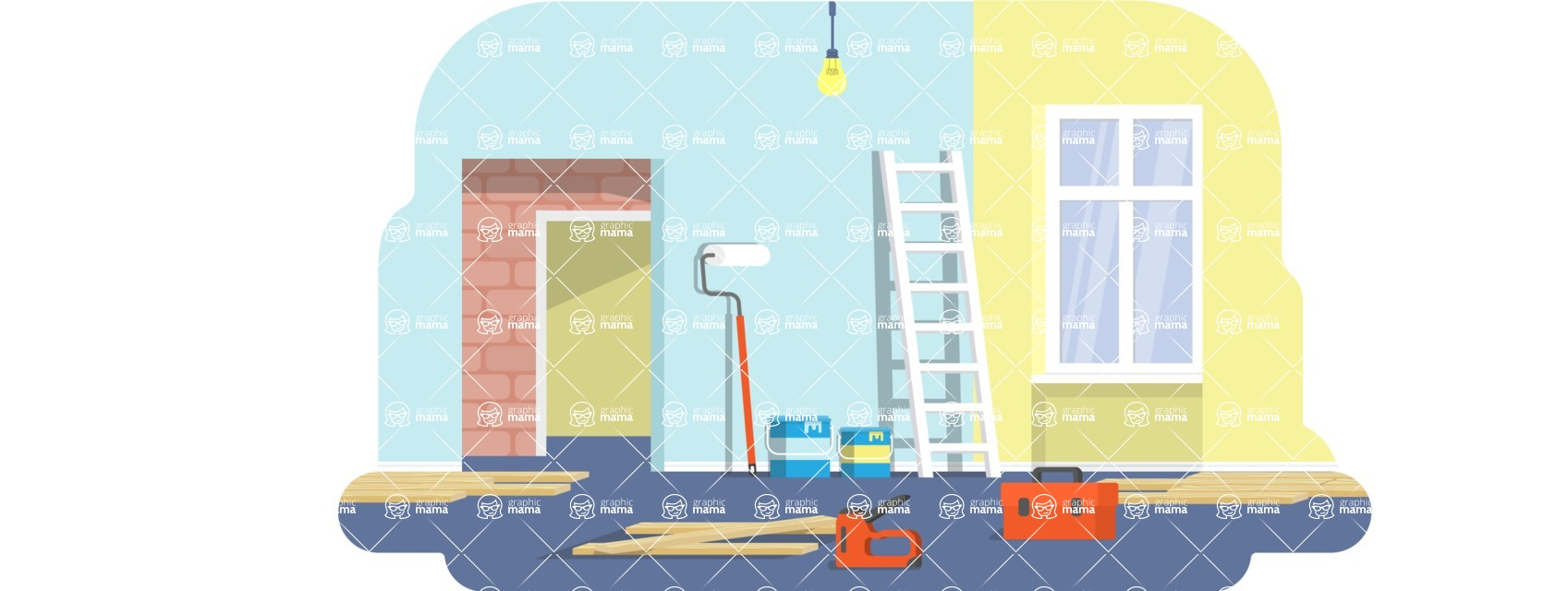 Vector Backgrounds - Mega Bundle - Painting Wall in Room Vector Background Illustration
