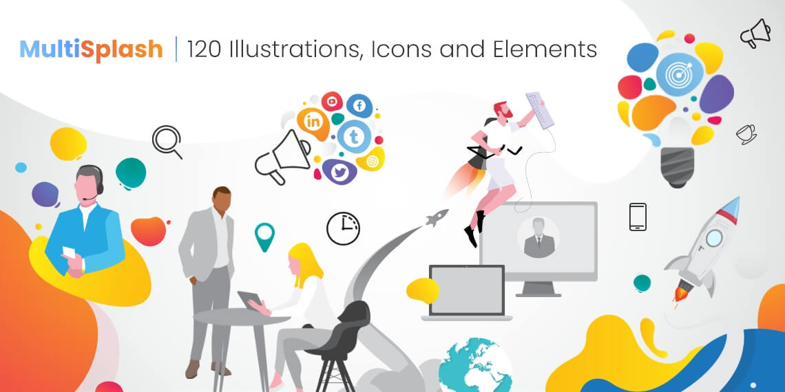 120 Icons, Illustrations and Elements for MultiSplash Presentation Template