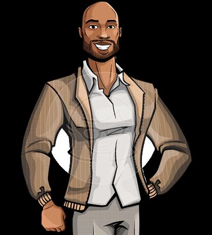 African-American Pop Art Style Man Vector Character
