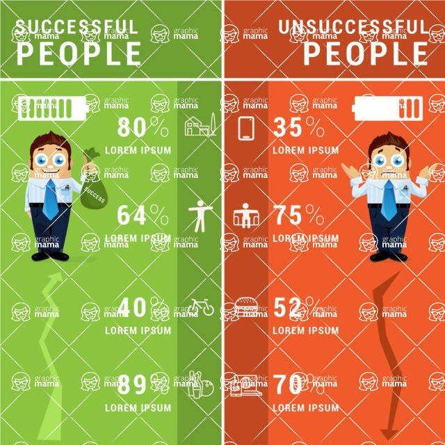 Infographic Templates Collection - Vector, Photoshop, PowerPoint, Google Slides - Successful vs Non-Successful People Infographic Template
