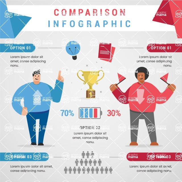 Infographic Templates Collection - Vector, Photoshop, PowerPoint, Google Slides - Two People Comparison Infographic Template