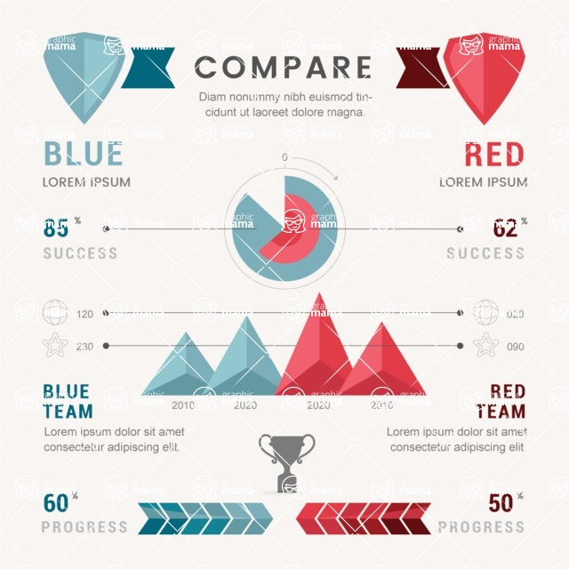 Infographic Templates Collection - Vector, Photoshop, PowerPoint, Google Slides - Comparison Infographic Template with Charts