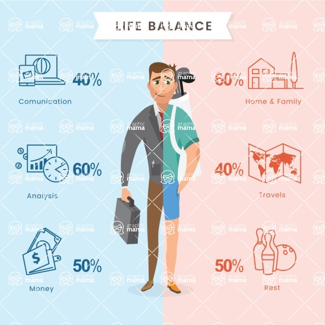 Infographic Templates Collection - Vector, Photoshop, PowerPoint, Google Slides - Life Balance Infographic Template