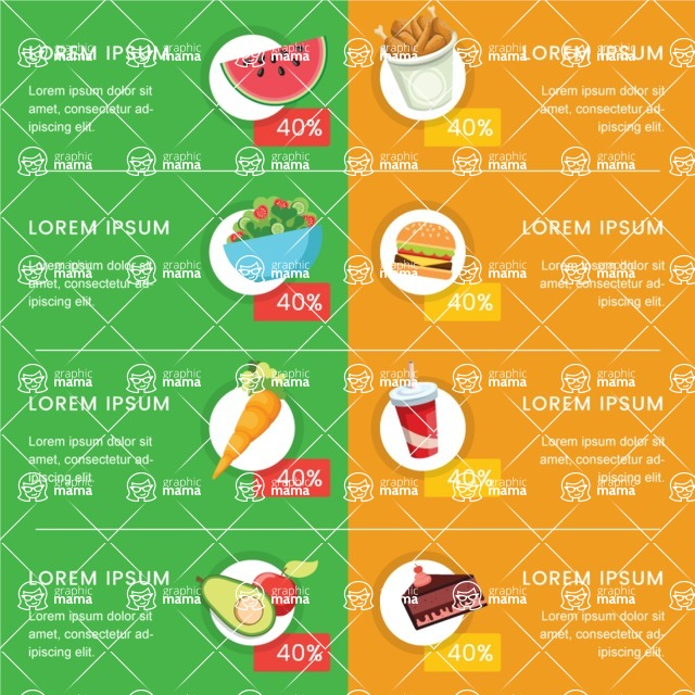 Infographic Templates Collection - Vector, Photoshop, PowerPoint, Google Slides - Infographic Template Comparing Food