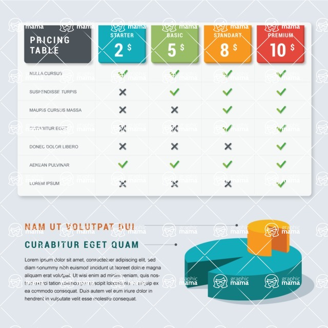 Infographic Templates Collection - Vector, Photoshop, PowerPoint, Google Slides - Prices and Plans Comparison Infographic Template