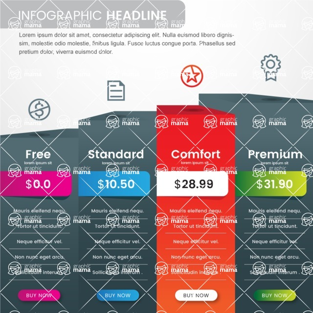 Infographic Templates Collection - Vector, Photoshop, PowerPoint, Google Slides - Subscription Plans Comparison Infographic Template