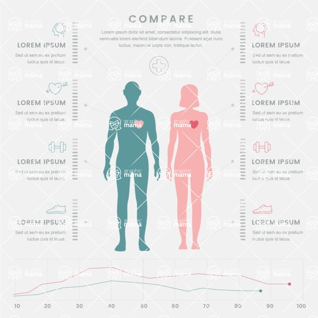Infographic Templates Collection - Vector, Photoshop, PowerPoint, Google Slides - Male and Female Comparison Infographic Template