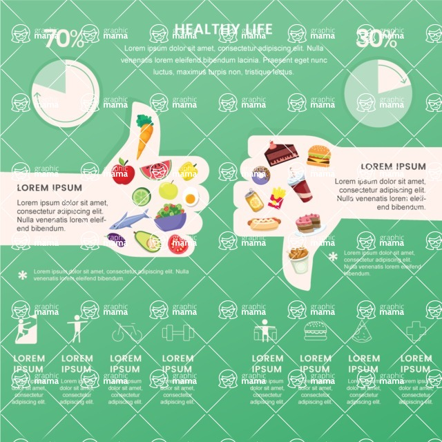 Infographic Templates Collection - Vector, Photoshop, PowerPoint, Google Slides - Junk Food And Healthy Food Comparison Infographic Template
